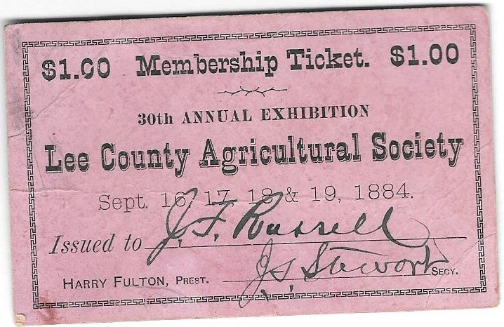Lee County Agricultural Society Member Ticket